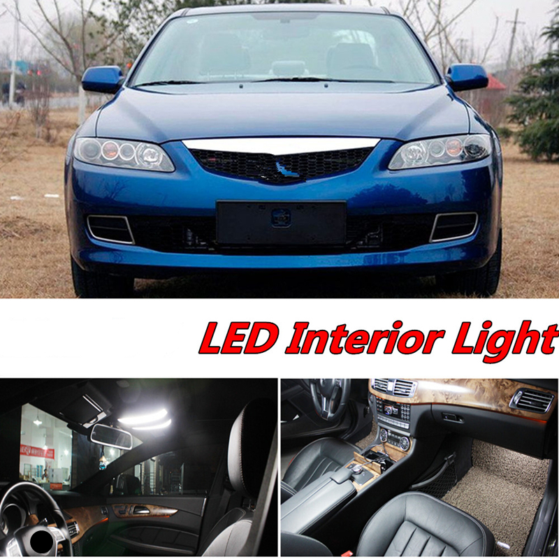 Tcart 8pcs X free shipping Error Free LED Interior Light Kit Package for <font><b>Mazda</b></font> <font><b>6</b></font> accessories 2003-2007 image
