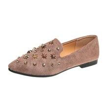 a59dec789b96 Femmes Appartements Étoiles Bout Pointu Femme Chaussures À Paillettes Tissu  Glissement sur des Chaussures Plates Rivets
