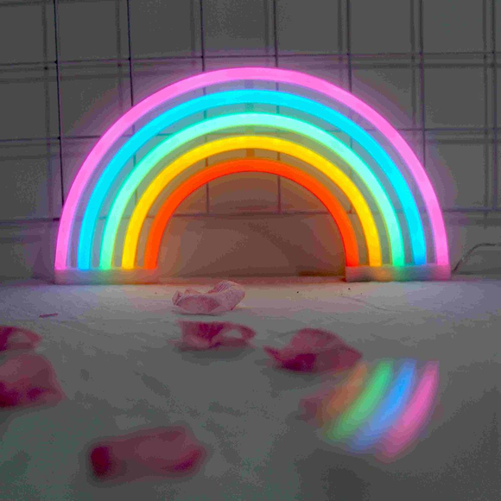 Colorful Rainbow Neon Sign LED Night Light UAB Charge Plug in Wall Lamp For Children Bedroom Decor Kids Gift Toy Decorations