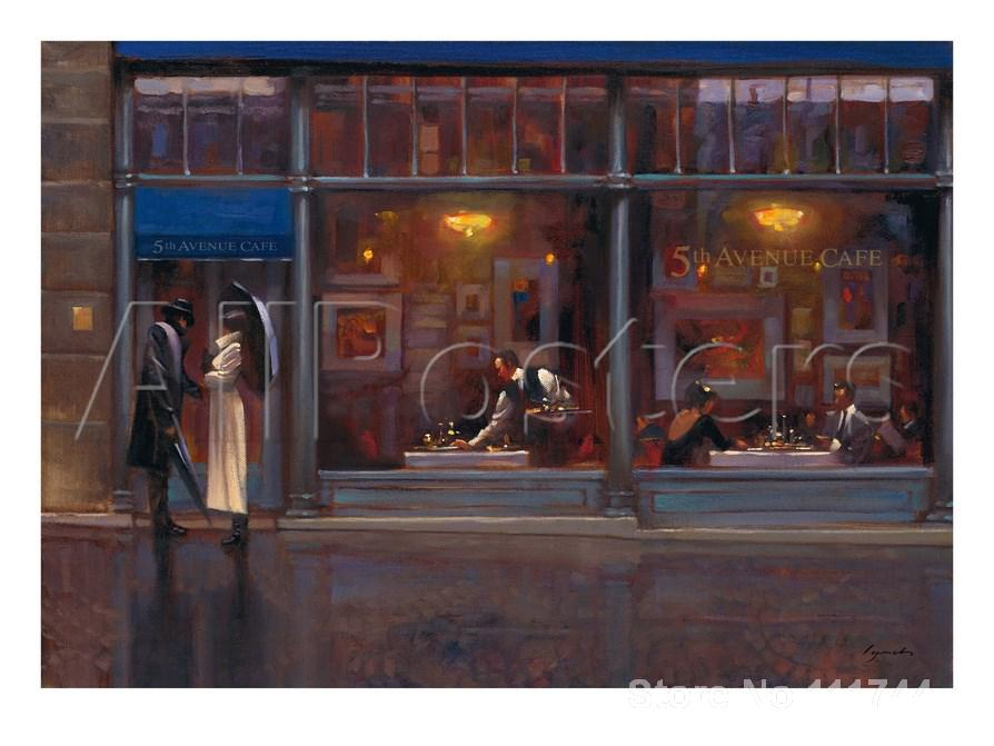 modern wall art Fifth Avenue Cafe Brent Lynch canvas paintings High quality Hand paintedmodern wall art Fifth Avenue Cafe Brent Lynch canvas paintings High quality Hand painted