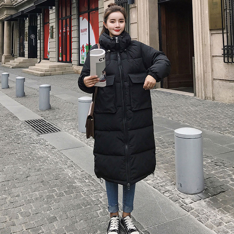 Stand Collar Thicken Warm Long   Down     Coats   Women Casual Solid Zippers Big Pockets Cotton   Coats   Winter Female Hardy Slim Jackets