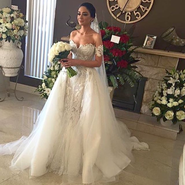 Annbridal Real Photo Pictues Yrw60 Heavy Beaded 2 Piece Y Mermaid Wedding Dress Removable Skirt