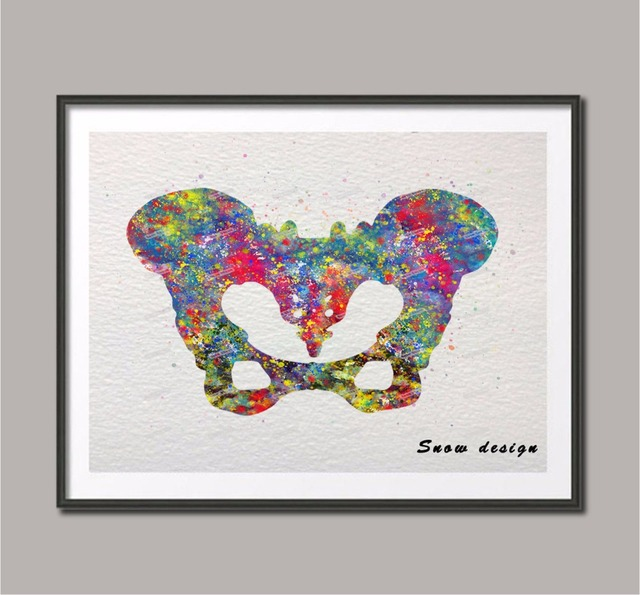 Original Watercolor Human pelvis wall art canvas painting pelvis ...