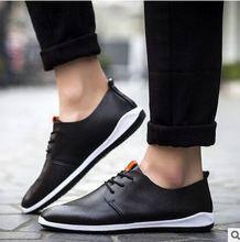 The New Men's Shoes Breathable Microfiber Leather Men'S Casual Shoes British Business Men Black Blue Orange White Leather Shoes