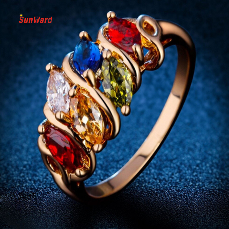 OTOKY Noble Luxury colorful Colorful Zircon Ring  Metal Party Ring Jewelry Gold 8 1PC