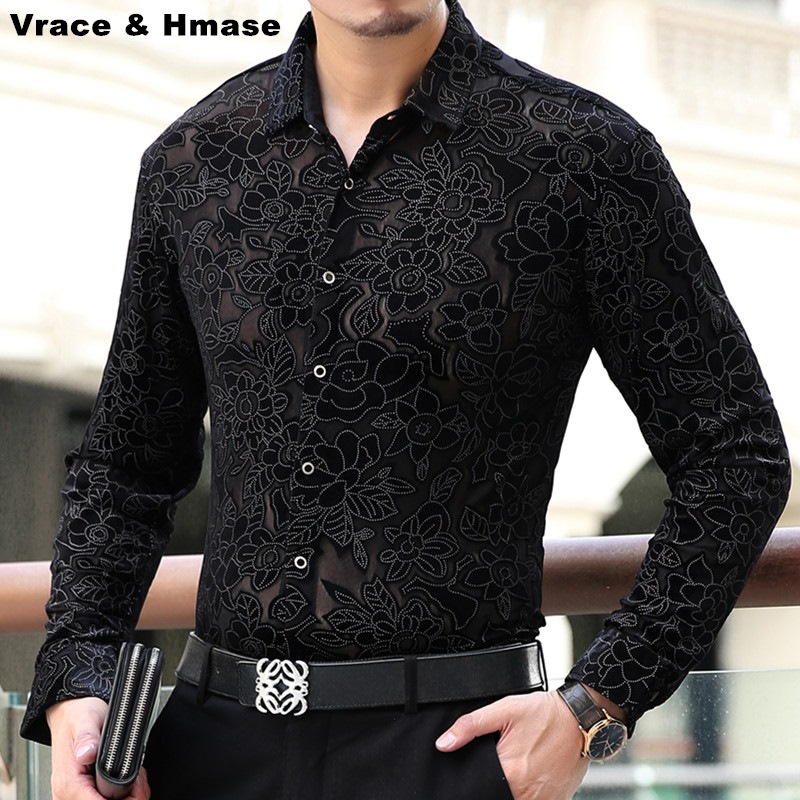 Soft and comfortable gold velvet hollow boutique long sleeved shirt 2017 Spring&Autumn new natural silk quality men shirt S 4XL