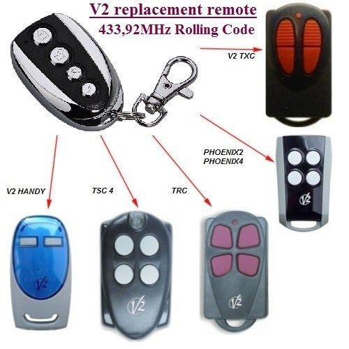 V2 PHOENIX 2, 4, V2 TSC2, TSC4, V2 TRC2, TRC4, TXC2, TXC4, HANDY2, HANDY4 433.92 MHz Rolling Code Rolling code V2, Nice v2