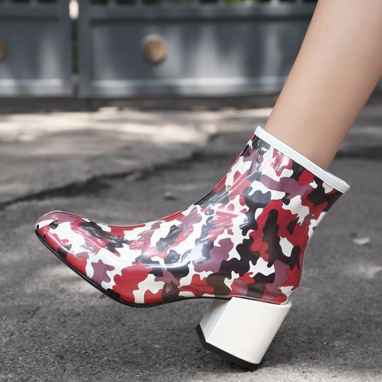De Del Cuero Nuevos Zapatos Para Grueso Con Botas Las Brillante Patente Tobillo Diseñadores Los blanco Mujeres Verde Pie Cremallera rojo Dedo Tacón Redondo Mujer Camuflaje Lateral YxXCwY7q