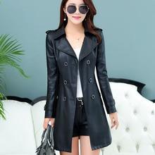 Free shipping Korean fashion fall 2016 black leather coat lapel long female temperament slim plus size show thin outerwear coats