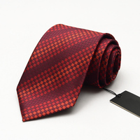 Jacquard Weave Brand Dress Tie Men's Business Professional Formal Ties 9CM Wide Wine Red Plaid Striped Interview Necktie Gravata