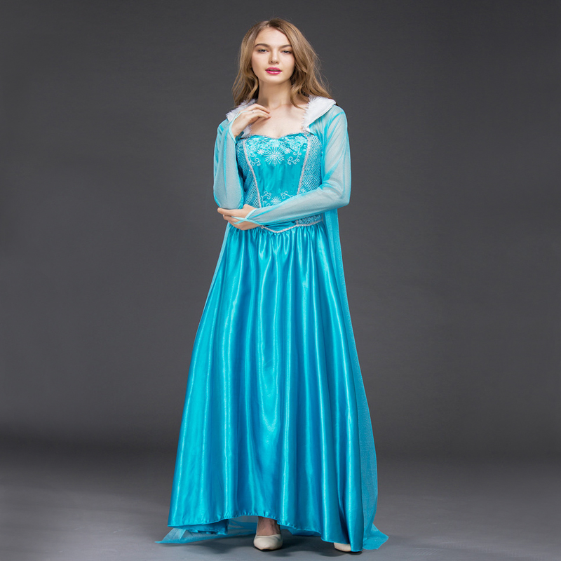 Free shipping New style women Frozen Cosplay Elsa costume Princess Costume Dress Halloween Dress with cloak for adult JQ-1034