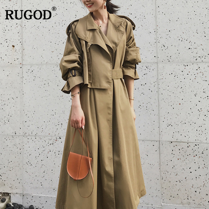 RUGOD 2019 Vintage Fashion Female X-Long Style Coat Turn-down Collar Solid Adjustable Waist Wide-waisted Trench Coat For Women
