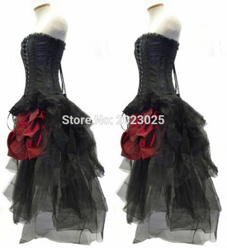 2017 Gothic Wedding Dresses Halloween Victorian Bridal: 2017 Burgundy And Black Gothic Corset Ball Gown Wedding