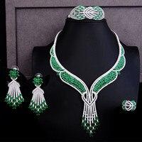 GODKI Luxury Butterfly Flower 4PCS Nigerian Jewelry set For Women Wedding Zircon Crystal CZ Bridal Lariat Necklace Ring Set 2019