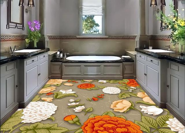 Pvc Vloer Verven : D vloer schilderen behang vintage bloem elegante bloemmotief d