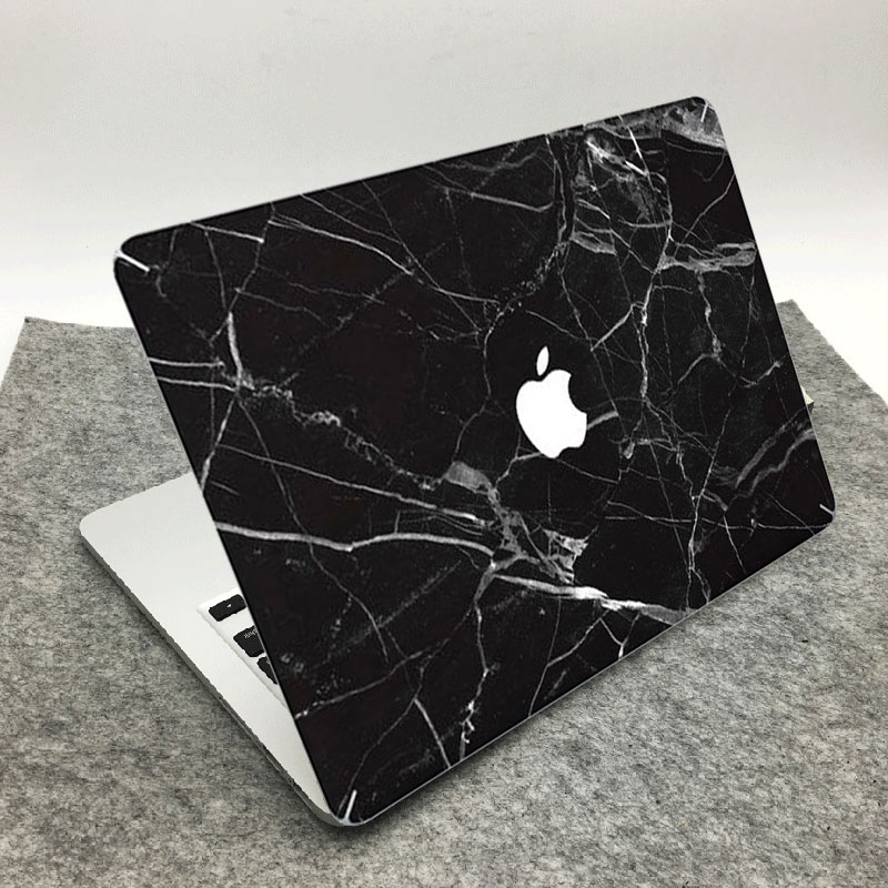 Black Marble Grain Positive Front Decal Laptop Sticker