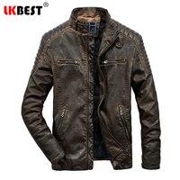Lkbest новый ретро кожаная куртка брендовая мужская мотоцикл мужские кожаные куртки пальто из искусственной кожи зимняя куртка мужчин плюс Ра...