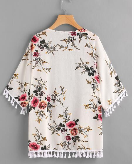 30pcs/lot fedex fast New Arrival Women Summer Ladies Beach Kimono Cardigans Short Sleeve Floral Print blouse