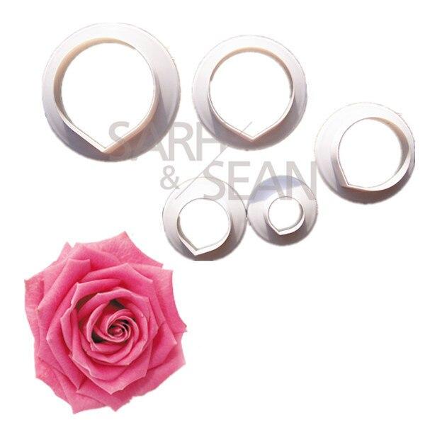 Slh283 Rose pétalos de la flor Fondant galletas cortadores decoración de pastele