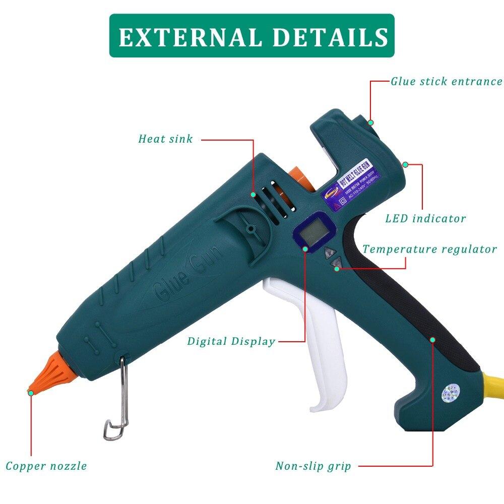 Pistolet à colle thermofusible 500W haute puissance fabrication industrielle Thermostat température réglable affichage numérique utilisation 11mm bâton de colle - 2