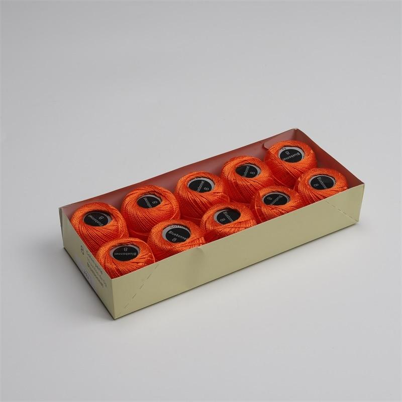 Размер 8 жемчужная хлопковая нить для вышивки крестиком 43 ярдов(5 грамм) на шарик Двойной Мерсеризованный длинный штапельный хлопок 10 шариков в цвет - Цвет: 243