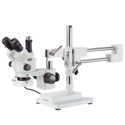 AmScope 3.5X-180X Simul-Focal Boom Stand Microscópio Estéreo + Luz Fluorescente