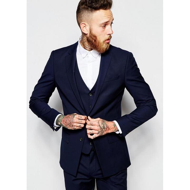 Boda Coat De Traje Masculino Estilo Azul Prom Desgaste Negocios Formal Mens  2017 Marino Made custom Terno Trajes Esmoquin Chaleco Image Tuxedo ... 4352c4a28f5
