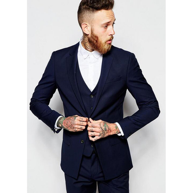 2017 mens formal Trajes desgaste novio azul marino negocios hombres traje  de boda terno masculino Esmoquin 6d5a0652b8f