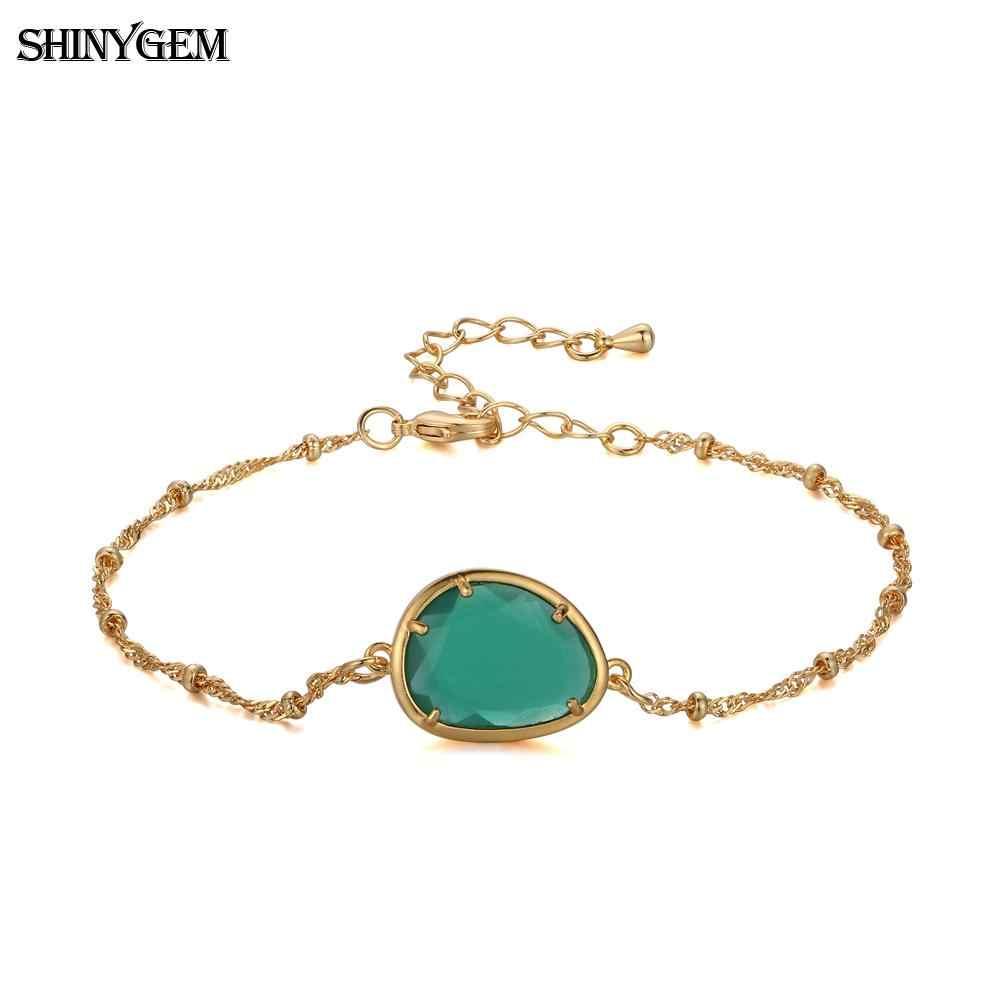 ShinyGem Water Drop Shape คริสตัล Charm สร้อยข้อมือทองชุบสร้อยข้อมือหินธรรมชาติสร้อยข้อมือผู้หญิง