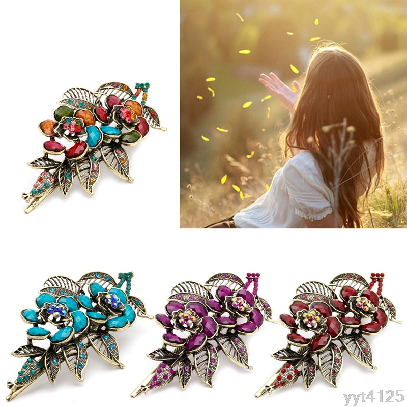 a06a00e834a Women Claw Fashion Crystal Rhinestone Hair Accessories for Girls NEW Floral  Vintag Rose Flowers Hair Barrette Clip
