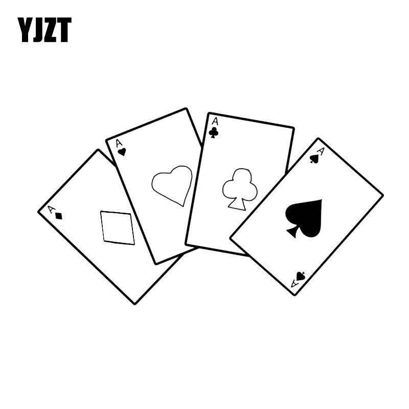 YJZT 17.3*10CM Poker Game Graphic Car Sticker Vinyl Bumper Window Decoration C12-0055