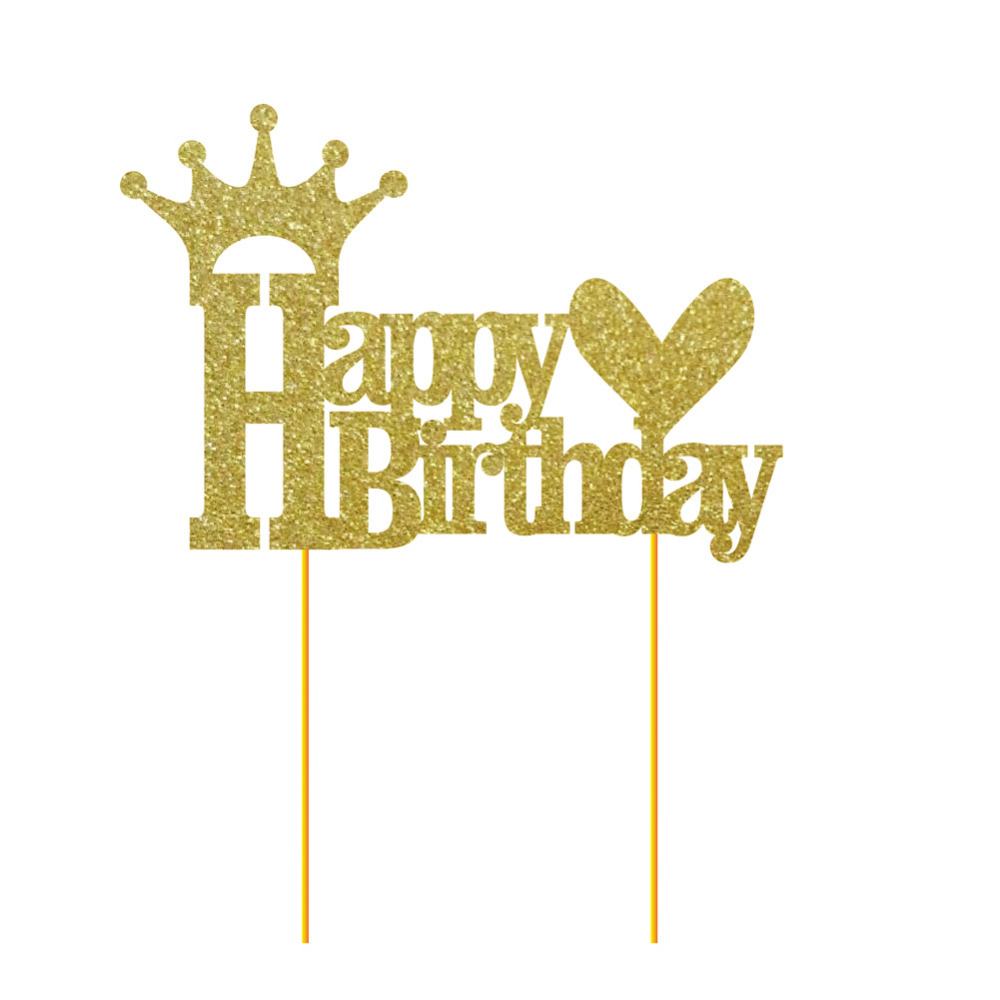 1pc Gold Glitter Happy Birthday Cake Topper Girl 39 s Birthday Cake Topper Princess Party 1st Birthday Party Decoration Supplies in Party DIY Decorations from Home amp Garden