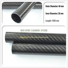 40mm ODx 36mm ID rura z włókna węglowego 3k 1000MM długości (rolka owinięta) rura węglowa, z 100% pełnym węglem, japonia 3k poprawić materiał