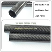 Tubo de fibra de carbono ID 40mm ODx 36mm 3k 1000MM de largo (enrollado en rollo) Tubo de carbono, con 100% carbono completo, Japón 3k material mejorado