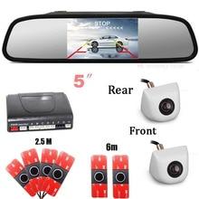 5'' Car Rearview Mirror Monitor Video Dual-core Car parking Sensor Show Distance Front & back Car camera Parktronic System radar