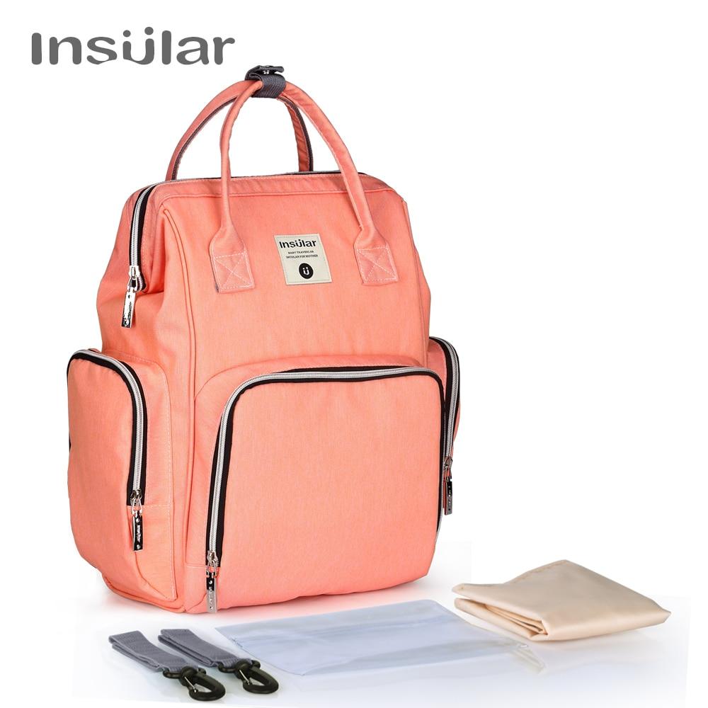 все цены на Insular Brand Mummy Maternity Nappy Bag Large Capacity Baby Dry Wet Nursing Diaper Bag Travel Backpack Stroller Hanging Bag