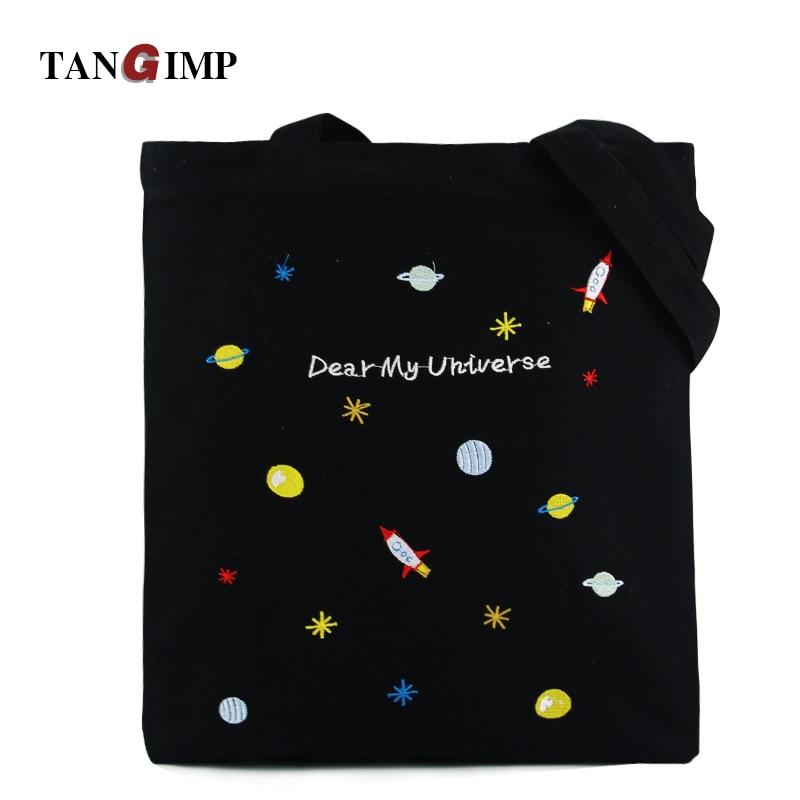 TANGIMP 2017 Eco Bolsos de Lona Mi Querido Universo Bordado Cereza Totes bolsa d