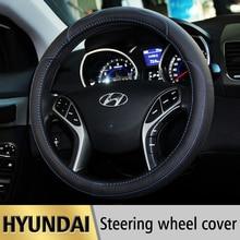 Leather Car Styling Steering Wheel Cover For Hyundai Tucson IX35 I30 Solaris Elantra Accent Getz Santa