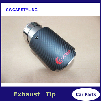 1X Universal Car Styling Coowei Exhaust Tip Carbon Fiber Muffler Pipe Car-styling For BMW Mini Cooper Automobiles Accessories bmw f30 akrapovic auspuffblende