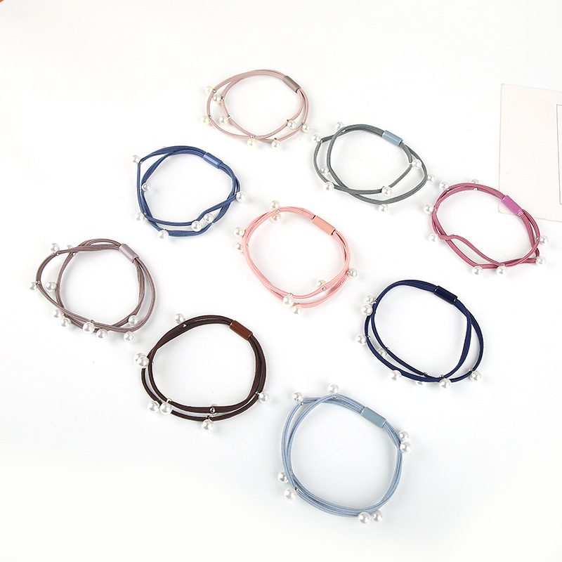 10pcs High-quality Double Deck Pearl Elastic Hair Bands Multicolor Women Girl Headwear Rubber Bands Hair Accessories