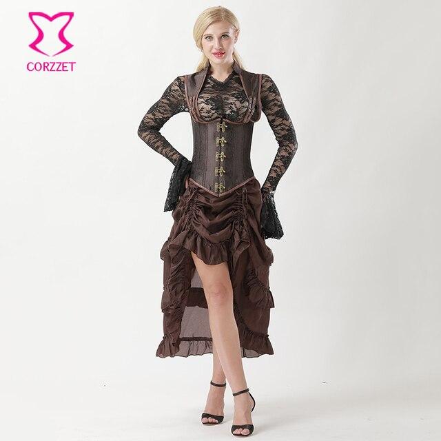 Corzzet Brown Collared Top Steampunk Underbust Bustiers Corset Dress