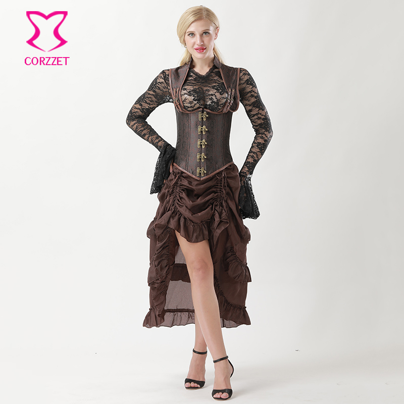 Corzzet Brown Collared Top Steampunk Underbust   Bustiers     Corset   Dress Burlesque Gothic Steampuk Corselet Plus Size 6XL