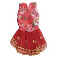 Pet Dog Wedding Dress Chinese Classic Style Dog Red Embroidered Skirts Costume For Marry Party 4