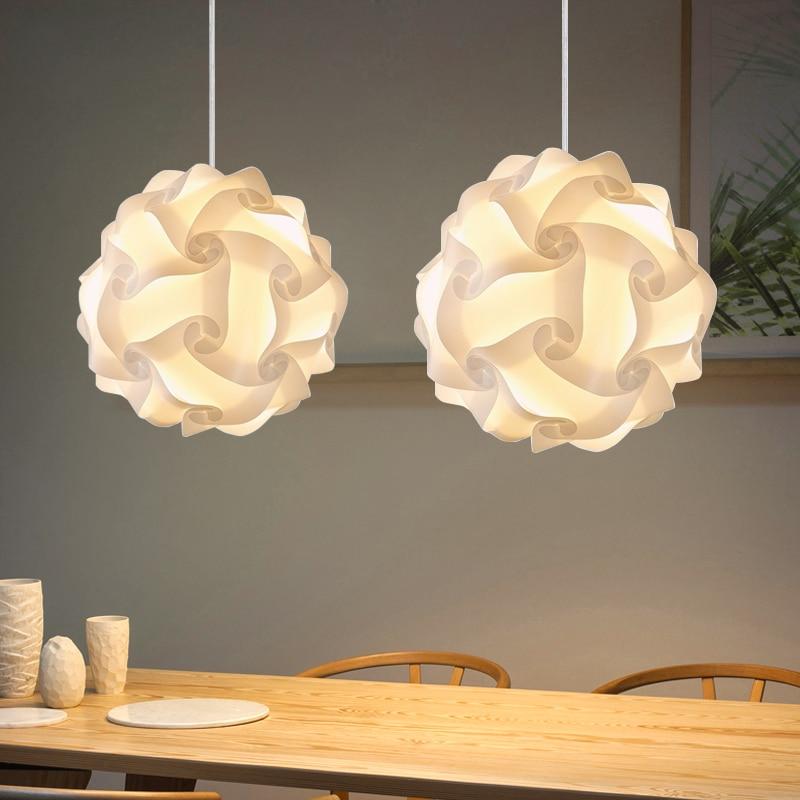 DIY IQ Jigsaw Pendant Lights White E27 30cm/40cm Modern PP Plastic Decorative Illumination Lamp 110-240V