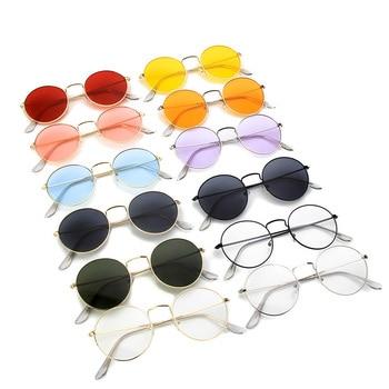2f2a67e5a2 Xinfeite gafas de sol Vintage clásico redondo de Metal marco colorido UV400  gafas de sol lente claro gafas de para hombres y mujeres X333