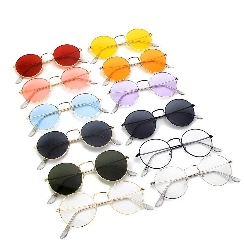 Xinfeite lunettes de soleil classique Vintage métal cadre rond coloré UV400 lunettes de soleil clair lentille plaine lunettes pour hommes femmes X333