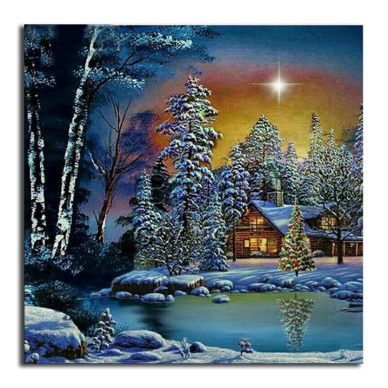 DIY 3D Diamond painting tree river Full Square Diamond embroidery Cross stitch cottage Full Round Diamond mosaic landscape moon