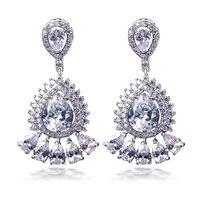 Trendy Water Drop Hoa Tai vàng Trắng màu Prong Thiết AAA CZ Earrings đối với Phụ Nữ Tinh Hoa Cưới Jewelry Miễn Phí Vận Chuyển