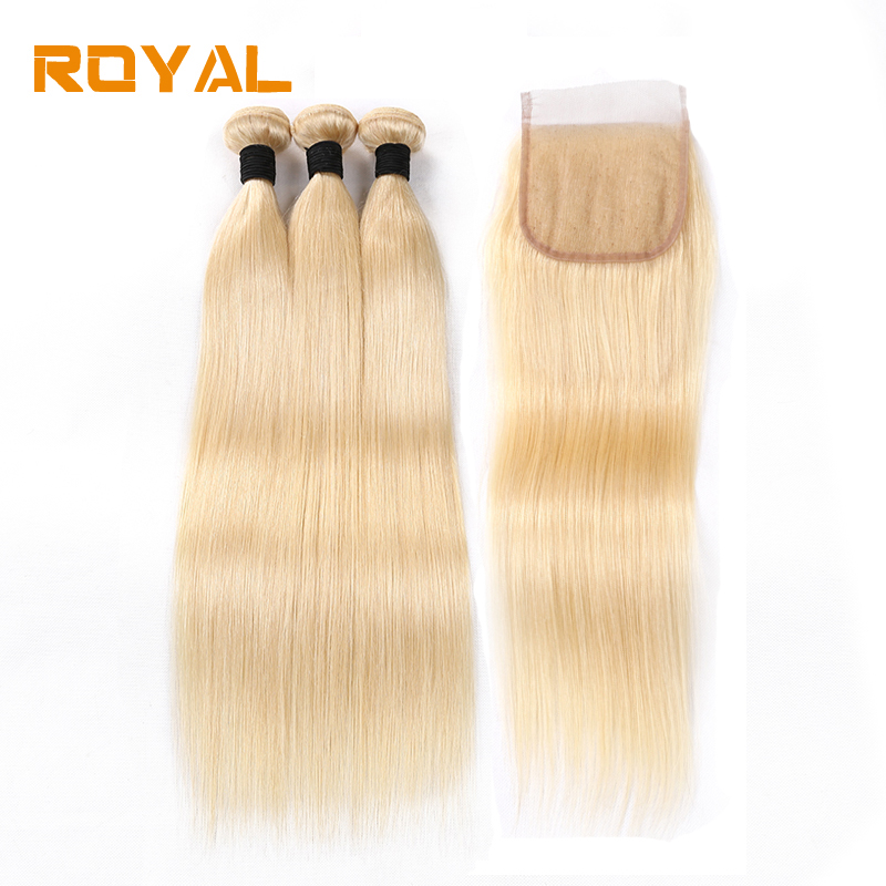 Brazilian Hair 3 Bundles With Lace Closure 613 Colored Straight Non Remy Royal Hair Wave 3 Pcs Human Hair Bundles With Closure