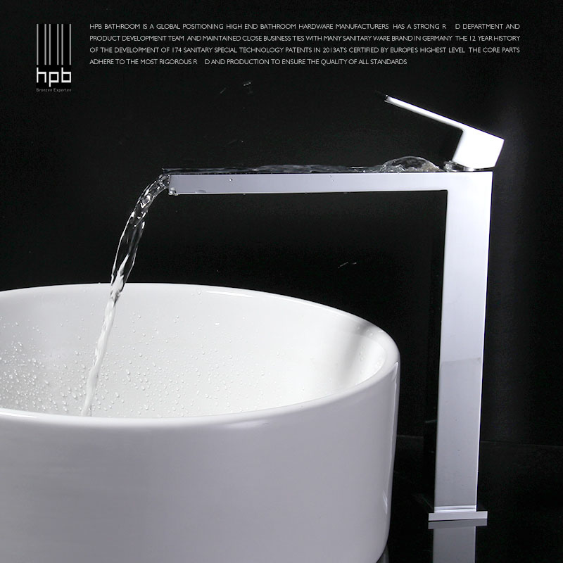 HBP Tall Square Brass Chrome Bathroom Faucet Lavatory Sink Bar Basin faucet Mixer Tap Extra Long Spout Cold Hot Water tap HP3106 free shipping chrome brass bathroom faucet lavatory vessel sink basin faucet mixer taps cold hot water tap swivel spout 2231361